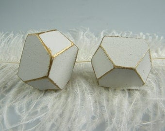 Geometric Shape / Modern Chic Knob / Pull / Gold and White Cabinet Hardware / Unique / Drawer Pull