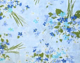 Blue + Aqua + Green Floral Bouquet Full Flat Bed Sheet
