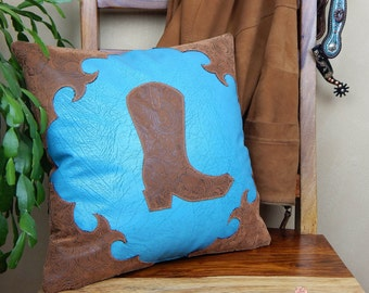 Custom Listing for Lorissa - Western Pillow, Leather Pillow, Cowboy Boot Pillow, Western Home Decor, Western Pillow Set