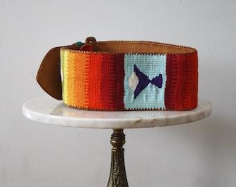 Belt Woven RAINBOW Obi Thick - Women's XS S - 1970s Vintage