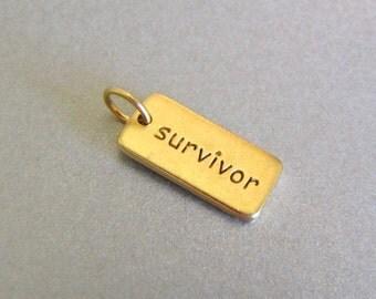 Gold SURVIVOR Word Charm