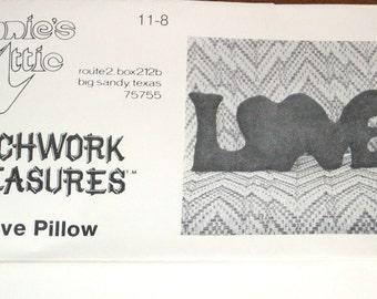 "Vintage 1980s Annies Attic Patchwork Treasures Craft Sewing Pattern 11-8 Love Pillow, Mod Decorative Soft Sculpture Letters, 27"" X 12"" Uncut"