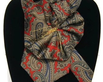 Ladies Silk Necktie Scarflette, Red Navy Paisley tie, Bert Pulitzer tie, Upcycled Necktie Necklace Collar, eco fashion Womans Ascot Scarf