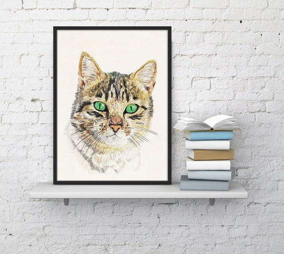 Spring Sale Wall art decor Cat head print. Gift for him -Cat wall art print- Wild animal Cat Love gift- Cat portrait print WAN184