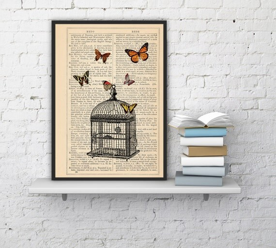 Christmas Sale Wall hanging Poster print Release the butterflies Butterflies  and cage dictionary art, dorm decor gift, wall  BFL025