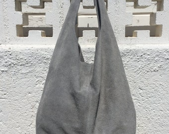 Large TOTE leather bag in GRAY. Soft natural suede genuine leather bag. Bohemian bag. Grey suede bag.