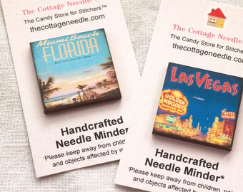 Vintage Travel Posters Needle Minder : 8 to choose from Pick One magnet cross stitch embroidery tool Summer Beach Cities Vacation