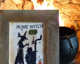 SAVE 20% OFF Home Witch Halloween cross stitch pattern by The Primitive Hare at cottageneedle.com OPTIONAL threads monochromatic cauldron