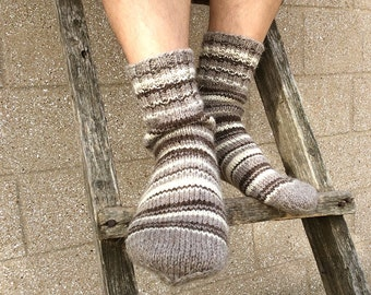 Hand Knitted Striped Wool Socks - 100% Natural Organic Undyed Wool - Cozy Christmas Gift