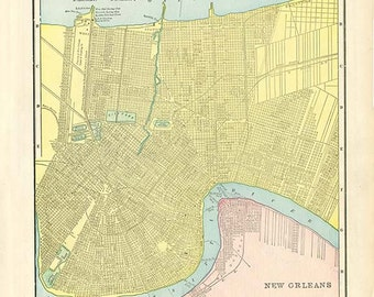 NEW ORLEANS and DALLAS City Maps from 'The Home Knowledge Atlas' Original Double-Sided Book Page Paper Ephemera