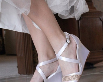 Wedding shoes low heel high heel wedge sandals bridal shoes embellished rose gold metallic beaded sequin lace trim