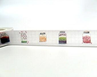 Hearts and Mason Jars Washi Tape - Cute Little Hearts Washi Tape 15mm x 10m