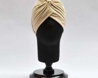 Cream Turban full headband, headpiece, hair turban, boho headband