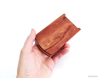Wood business card holder - business card case - mahogany and padouk -  office accessory - MADE TO ORDER