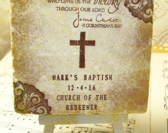 Boys' Baptism Gift - First Holy Communion, Personalized Gift, Cross, 1st Corinthians 15:57, Thanks be to God, Who Gives Us the Victory