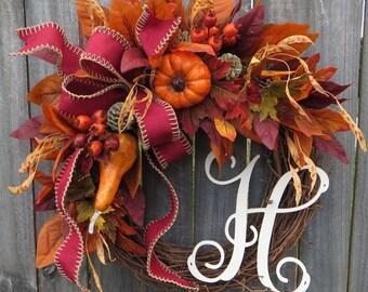 Fall Monogram Wreath, Fall Wreath, Autumn Wreath, Wreath, Door Wreath, Harvest Wreath, Grapevine Wreath, Halloween Wreath, Thanksgiving