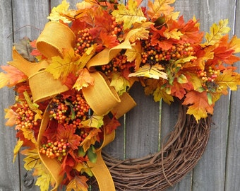 Fall Wreath, Fall Oak Leaf Wreath, Fall Leaves, Burlap Wreath, Natural Harvest Burlap Wreath In Yellow, Etsy Wreath