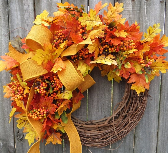 Fall Wreath, Fall Oak Leaf Wreath, Fall Leaves, Burlap Wreath, Natural Harvest Burlap Wreath In Yellow, Etsy Wreath