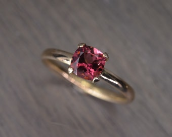 Tourmaline Ring, cushion silver solid gold stacking - Aurora Solitaire