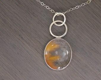 Rutilated Quartz Necklace, oval silver orange gold 31ct  - Parker Pendant
