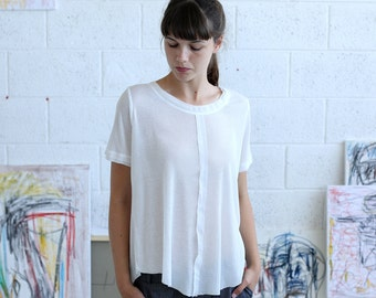SALE  50 Off White ribbed t-shirt, women's cotton t-shirt, women's knit tee.