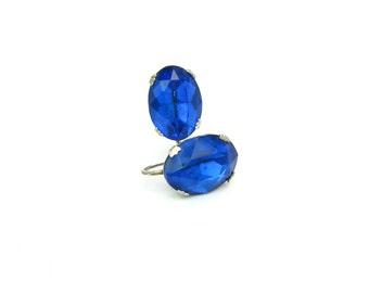 Cobalt Blue Earrings. Art Deco, Large Oval Foiled Rhinestone Solitaires. Silver Tone Screw Backs. 1930's Vintage Art Deco Jewelry