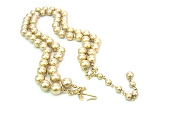 Gold Pearl Necklace. Two Strand Bead Necklace, Choker. Signed Monet. Imitation, Gold Tone, Hand Knotted, Adjustable. Vintage 1980s Jewelry