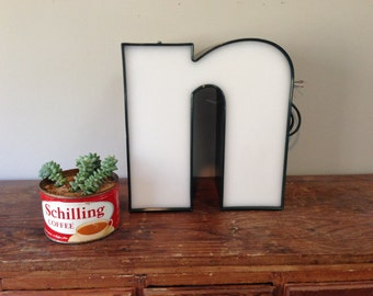 Green Metal letter - n - reclaimed