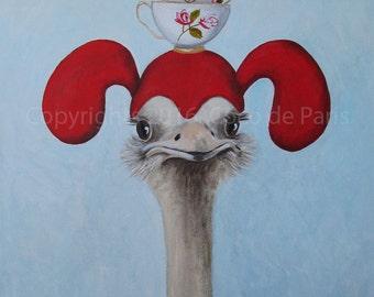 "Original Ostrich Painting, BIG SIZE 24x31x2"", handpainted, Ostrich on canvas, stacking teacups,  Ostrich art by painter Coco de Paris"