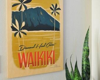 Diamond Head, Waikiki - 16x24 Maple Wood Print