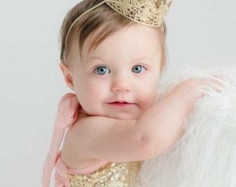 Ready to Ship   Chloe    newborn or 1st birthday vintage mini lace crown headband   WASHABLE   photo prop HEADBAND option
