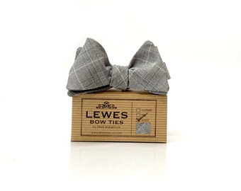 Men's self tie grey finest wool bow tie, checked wool bow tie, grey wool bow tie, classic bow tie for men