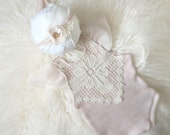 Newborn Blush Sweater Knit Romper Set, baby girl, sweater knit, pink, vintage lace, photography prop, clothing sets,