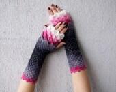 Guantes sin dedos guantes calentadores de muñeca linda manguitos en gery rosa blanco mujer guantes fingerless guantes encaje guantes Fingerless de la escala de la capa