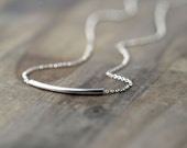 SALE - Minimalist Curved Bar Necklace / Modern Minimal Jewelry Gift for Women / Simple Sterling Silver Tube Everyday Necklace