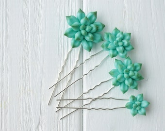 Blue Succulent Hair Pins Hairpin Polymer Clay Bobby Pins Hair Decoration Accessory Gifts For Women handmade decoration birthday wedding gift