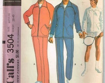 "1973, Uncut, Vintage McCall's #3504 Sewing Pattern, Men's Size Medium, Chest 38 - 40"",  Men's Jog Suit or Sport Jacket,  Racket Cover"