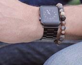 Men's Bracelet. Bead bracelet for men. Jewelry for men. Adjustable elastic bracelet. Moonstone and Black CZ Pave Bead Bracelet