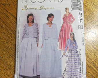 Retro Style MODEST Evening Dress - Pleated Skirt, Tank Top & Jacket - Choose Your Size - UNCUT Sewing Pattern McCalls 2534