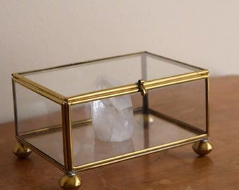 Medium Vintage Glass Curio Display Box - perfect to display crystals or baubles