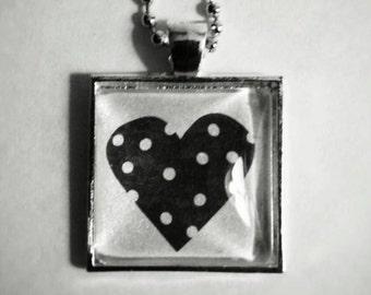 Polka Dot Black Heart Glass Tile Pendant Necklace