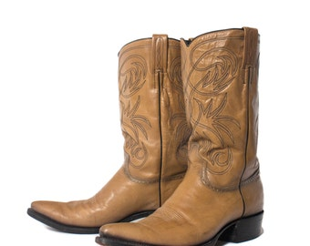 12 D | 1970's Dan Post Pointed Toe Western Boots in Blonde Leather