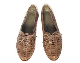 6.5 M | Women's Olive Color Huarache Oxford Shoes