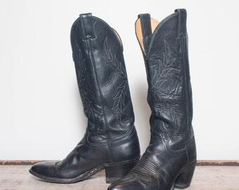 6 B | Women's Tall Black Justin Western Boots w/ Feminine Leaf Stitching