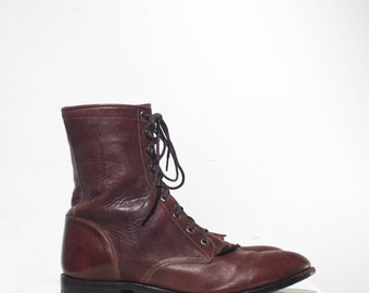 10.5 D | Men's Vintage Justin Ropers All Leather Lace Up Ankle Boots with Removable Kilties
