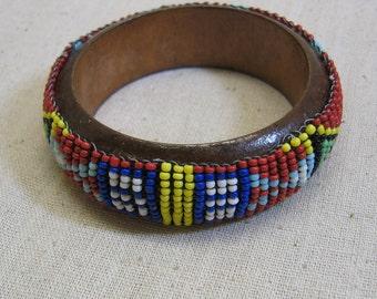 Vintage Colorful Seed Bead Hand Beaded Bangle Bracelet