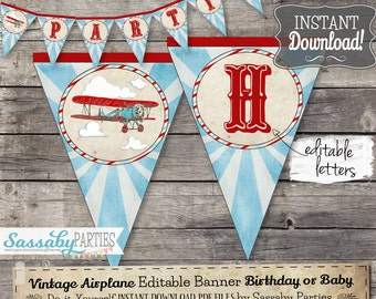 Vintage Airplane Banner - INSTANT DOWNLOAD -  Editable & Printable Party Banner, Bunting, Aeroplane, Biplane, Airline, Birthday, Baby Shower