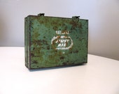 Vintage Metal Bullard Brand First Aid Kit Box, Green Industrial Metal Box
