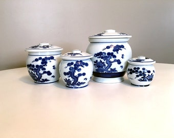 Vintage Asian Blue and White Ceramic Canister Set with Lids / Chinoiserie Chic / Mid Century Japanese Ceramic Jars / Arita / Made in Japan