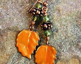 Orange Enameled Leaf Earrings, Copper, Fall Earrings, Boho Jewelry, Leaf Jewellery, Handcrafted Artisan Earrings, Copper Earrings, Gift
